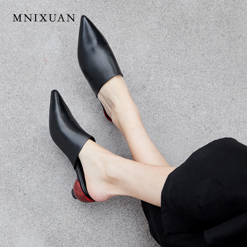 MNIXUAN Rome outdoor women slipper sandals covered toe mules shoes 2019 summer new pointed toe genuine leather medium heel black