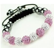 10mm white pink mix wo micro pave stone disco ball Beads charms Bracelets  lot Bangles rhinestone 572785a8d4b1