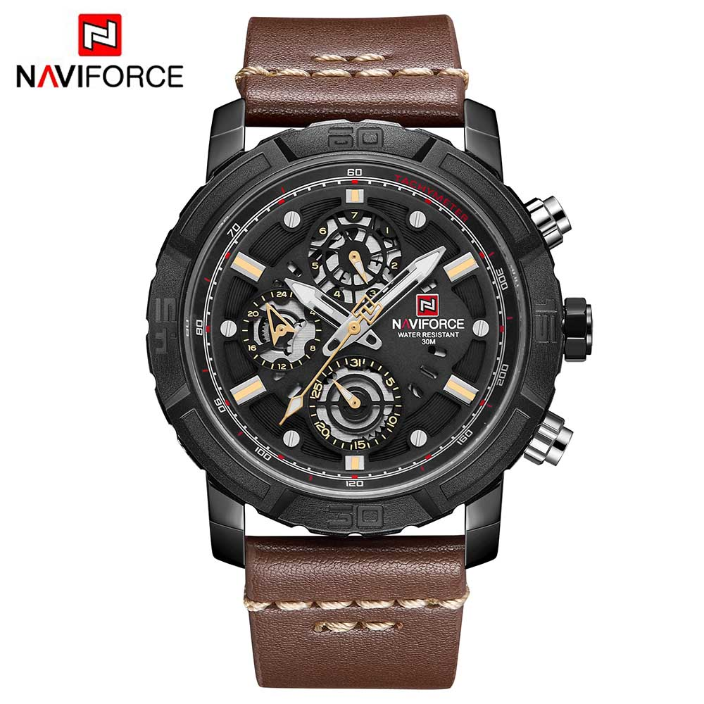 Naviforce Watches Men Brand Analog Watches Men's Quartz 24 Hours Date Leather Clock Man Fashion Casual Sport Wirst Watch цена и фото