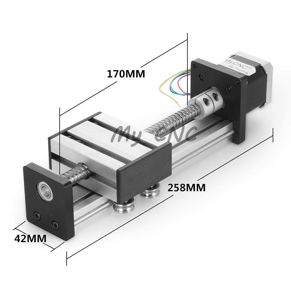 Livraison gratuite 100mm course vis à billes cnc linéaire rail de guidage pour laser de coupe
