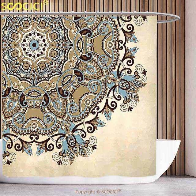 Decorative Shower Curtain Mandala Ethnic Indian Flower Circle On Lace Ornaments Traditional Boho Design Cream Cocoa