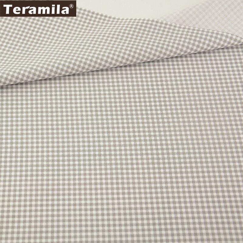 Nuevas Adquisiciones de la Alta Calidad 100% Tela de Algodón Gris y Blanco Chequ