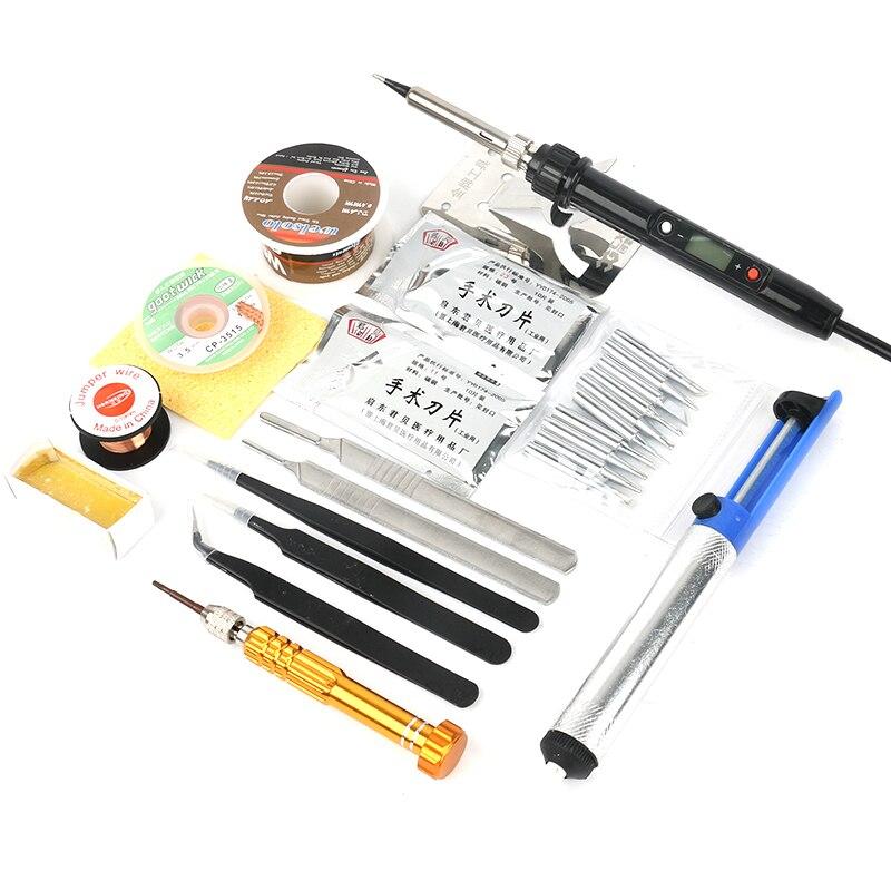 936a temperatura profesional ajustable LCD Digital eléctrico Estación de soldadura de hierro DIY herramientas de soldadura 90 W