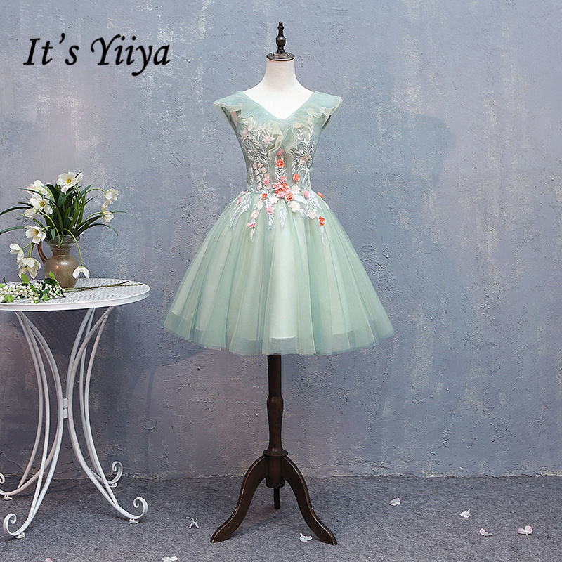 It's YiiYa   Cocktail     Dress   Embroidery Floral Appliques Beading V-neck Light Green Mini Party Gowns Short robe de soiree MN006