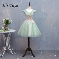 It's YiiYa Cocktail Dress Embroidery Floral Appliques Beading V neck Light Green Mini Party Gowns Short robe de soiree MN006