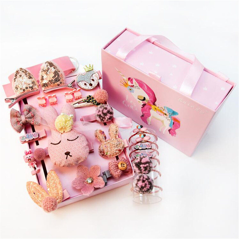 24 Pcs/Box Cute Cartoon Children Hair Clips Set Accessories For Girls Kids Princess Hairpins Barrette Headdress   Headwear   Gift