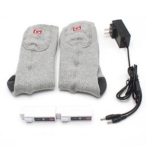 Носки с электрическим подогревом теплые носки с перезаряжаемой батареей 3,7 вольт эластичные теплые носки для здоровья для помещений и активного отдыха - Цвет: Gray