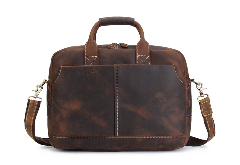 Nesitu Brown Vintage Genuine Leather Crazy Horse Leather Men Briefcase Messenger Bags 14'' Laptop Portfolio Shoulder Bag #M3901 vintage genuine leather men briefcase bag business men s laptop notebook high quality crazy horse leather handbag shoulder bags