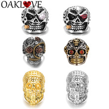 Vintage Punk Skull Ring Set for Women Men Gothic Fashion Jewelry Charm Cubic Zirconia Hip Hop Evil Skeleton Rings Party Rock(China)