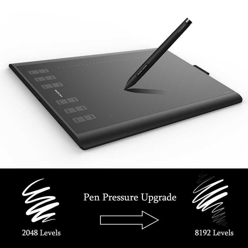 Huion novo 1060 plus 8192 níveis de desenho gráfico comprimidos caneta digital com filme presente e 8 gb cartão tf