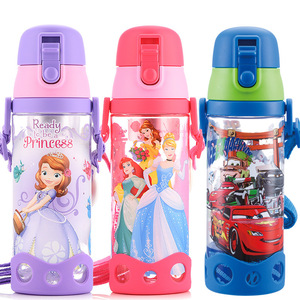Image 2 - 500ml Disney princess mickey children water cup with straw Lanyard bottle primary school boy girl baby portable water kettle