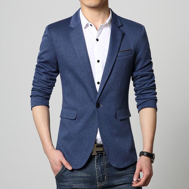Mens Blazer escudo de manga larga Rojo azul Negro traje slim Primavera chaqueta ocasional Otoño nueva llegada 2016 erkek kaban blaser masculino