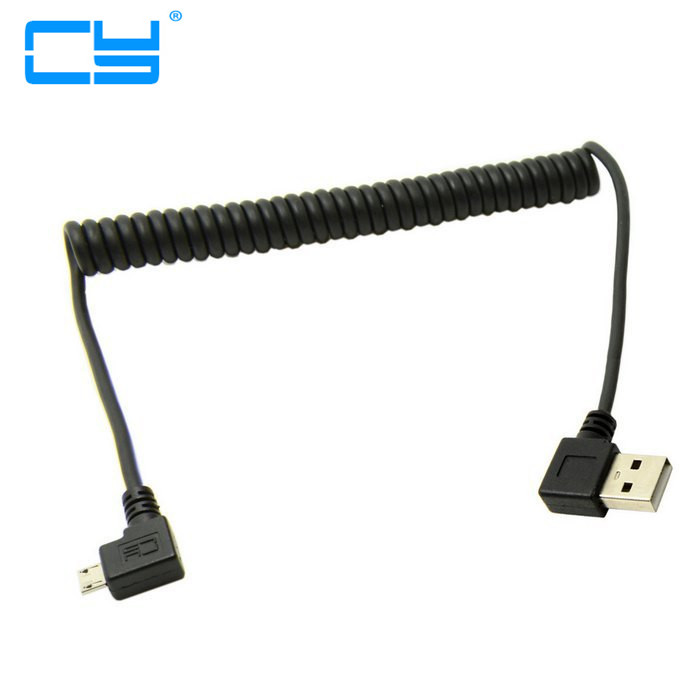 Right Angled 90 degree Micro USB Male to A Type Male Left Angle Spring Retractable stretch Data charger Cable for Tablet Phone 1 pair right left angle micro usb male 90 degree usb male to micro female plug adapters hot worldwdie aqjg