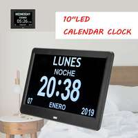 10 LED Large Time Wall Clock With Digital Wall Clock Time Calendar Day Week Month Year Calendar Nightlight For Home Living Room