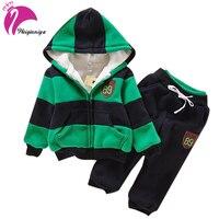 Baby Boys Children Winter Plus Velvet Baby Sports Suit New Brand Hoodies Jacket Sweater Coat Pants