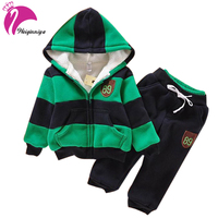 Baby Boys Children Winter Plus Velvet Baby Sports Suit New Brand Hoodies Jacket Sweater Coat Pants