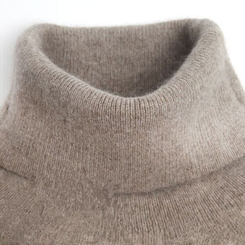 Automne hiver pull en cachemire tricoté femme pull grande taille pull à col roulé femmes de base pull à fond dessus chaud H533