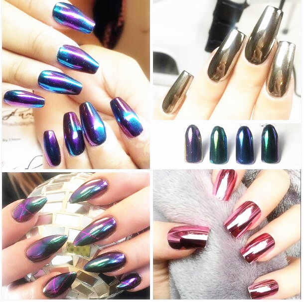1 g/Box Emas Sliver Nail Glitter Powder Shinning Cermin Eye Shadow Makeup Bubuk Debu Nail Art Glitters DIY Chrome Pigmen