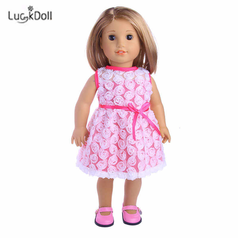 Doll Fashion Summer Pink Dress Suitable 18 Inch American 43cm Baby Doll Clothes Accessories,Girls Toys,Generation,Birthday Gift