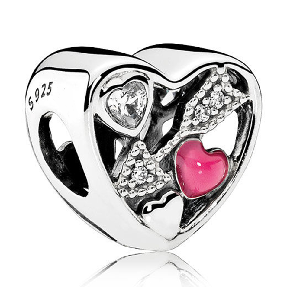 Authentic 925 Sterling Silver Enamel Struck By Love Heart With Crystal Charm Fit Pandora Bracelet Bangle For Women DIY Jewelry
