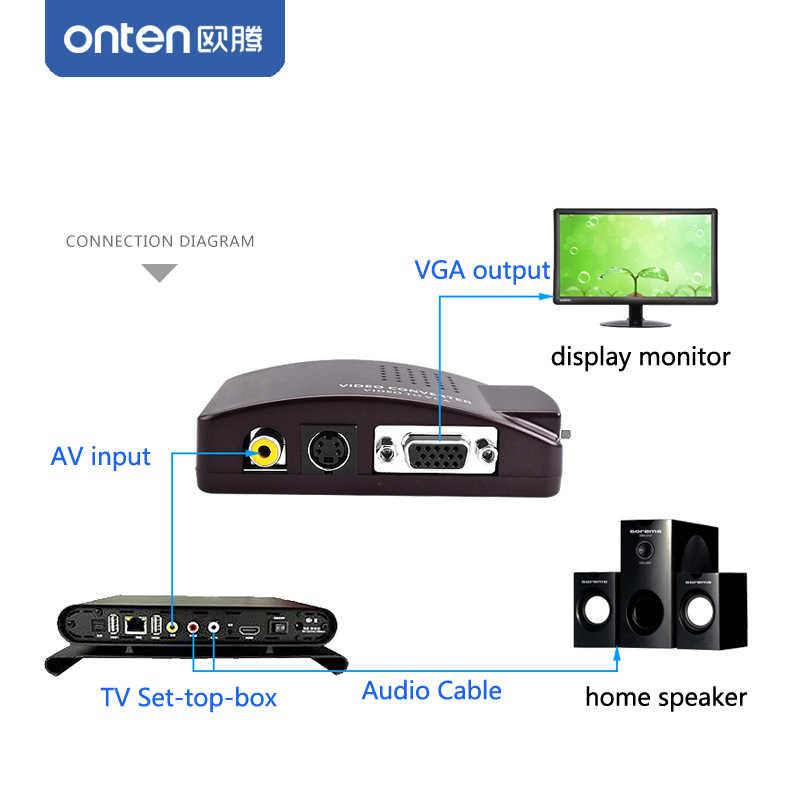 onten av s-video to vga converter rca 1 in 2 out adapter for tv