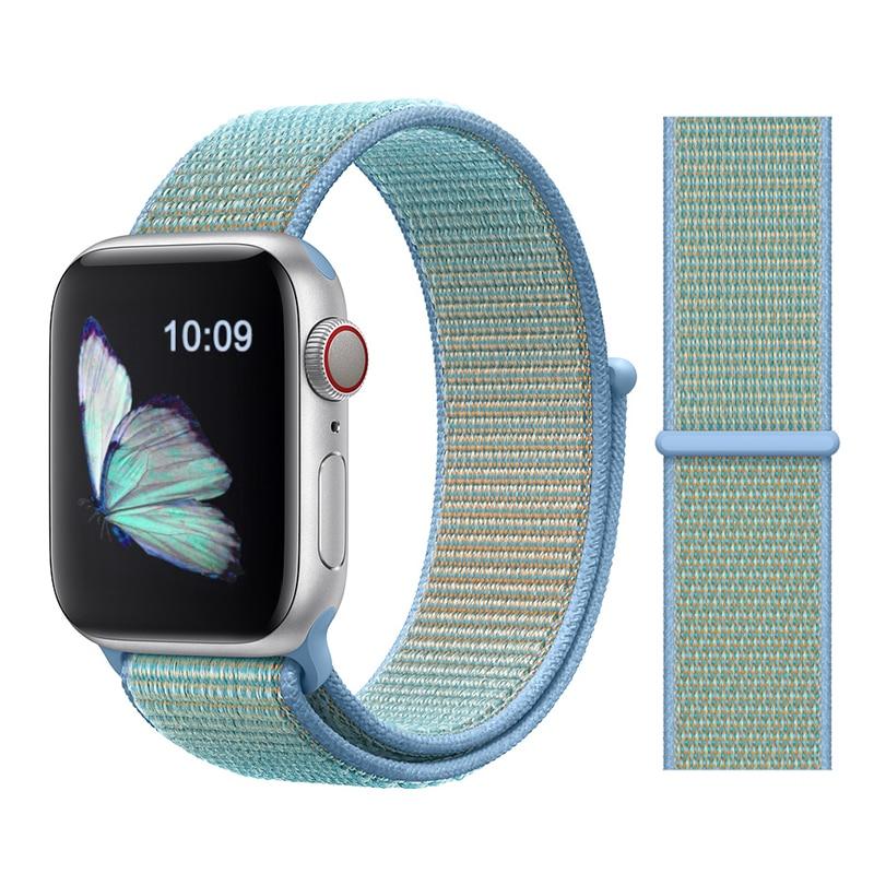 Для наручных часов Apple Watch, версии 3/2/1 38 мм 42 мм нейлон мягкий дышащий нейлон для наручных часов iWatch, сменный ремешок спортивный бесшовный series4/5 40 мм 44 мм - Цвет ремешка: Color44 Cornflower