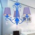 Американская железная синяя хрустальная люстра для столовой спальни минималистичные современные средиземноморские лампы
