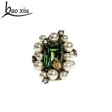 Женское кольцо с жемчугом Винтажное золотого цвета большим кристаллом