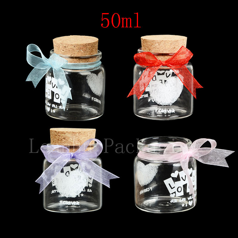 50ml X 6 empty clear glass decoration bottle with wooden cork,printing display wishing bottles cork stopper,glass container n light бра n light 145 01 31