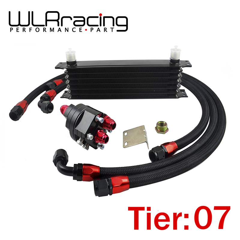 WLR RACING - Universal 7 Row 10AN Aluminum Engine Transmission An10 Oil Cooler Relocation Kit топливоснабжение no logo 7 10an auto