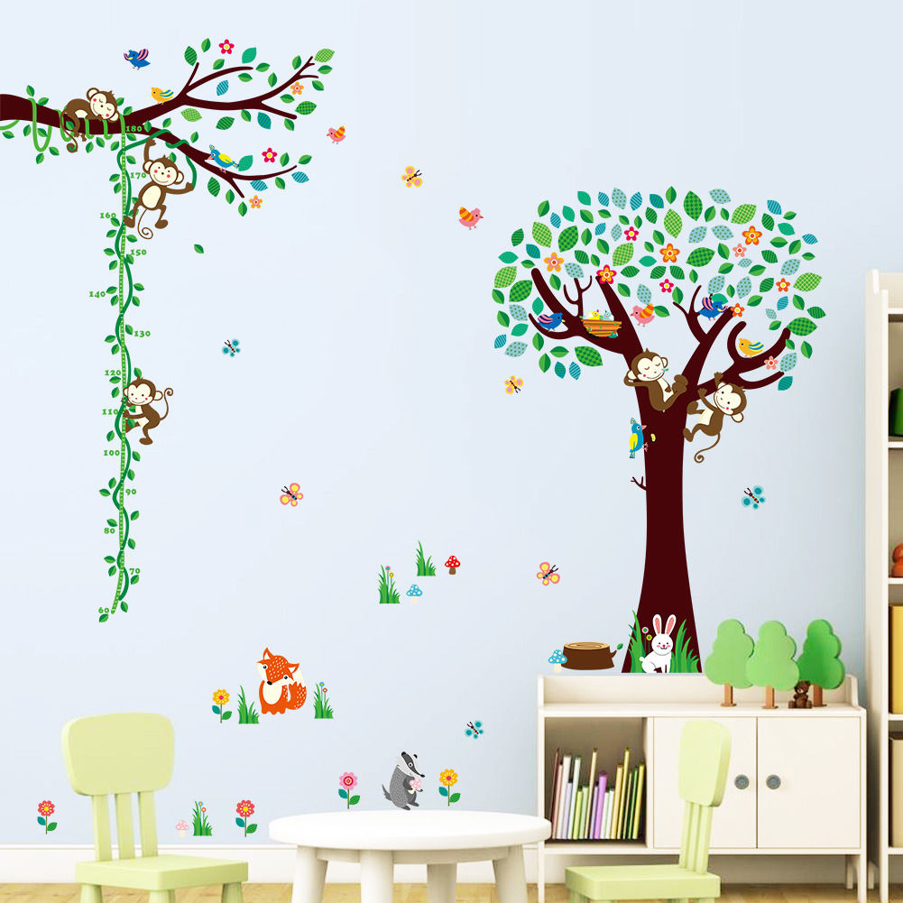 Monkeys Big Tree Vines Cartoon Wall Sticker Vinyl Art Mural Kids Nursery Room Decor Home Decal beyblade set