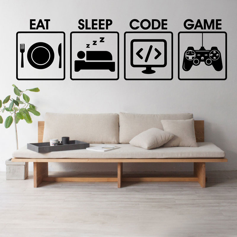 Gamer Wall Decal Eat Sleep Game Code Programming Controller Video Vinyl Art Home Decor For Kids Bedroom Wall Sticker Mural 3024