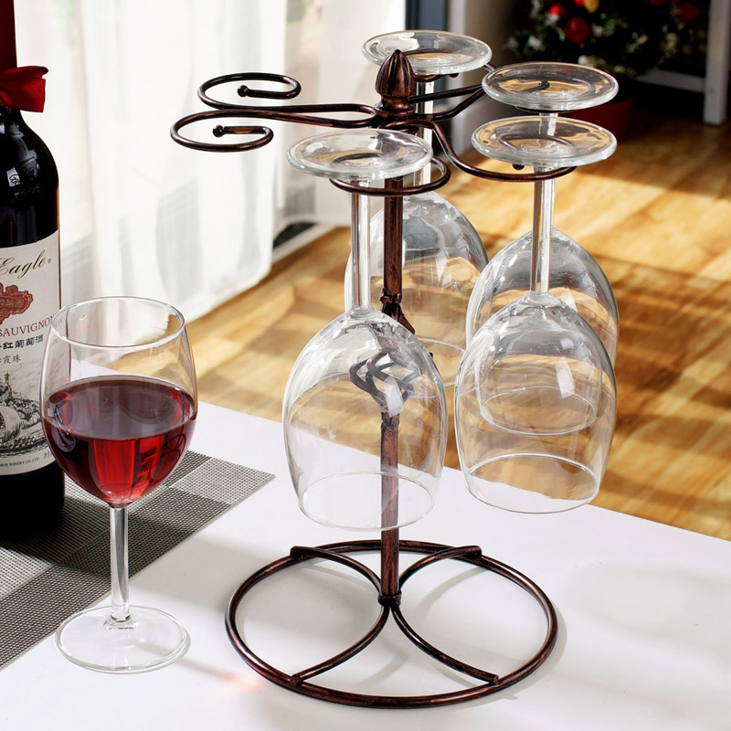 US $13.0 9% OFF|European Retro Iron Wine Glass Rack Kitchen Bar Cup Hanging  Holder Goblet Display Stand Drinking Glass Stemware Shelf Home Decor-in ...