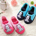 Pink / blue kids warm indoor shoes / cute cartoon puppies pattern children's home slippers, non-slip girls Pack with slippers