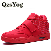 QzsYog Big Size 39-46 Men Basketball Shoes Air HighTop Cushion Sneakers Outdoor Sport Basket Femme Athletic Trainers Walking Red
