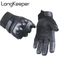 LongKeeper Touch Screen Tactical Carbon Hard Knuckle Full Finger Gloves Military Armed Paintball Airsoft Combat Anti-Skid G258