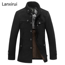 Lanxirui Brand Clothing Mens Wool &Blends Autumn Winter Cashmere Men S Coat Trench Jacket Overcoat Mj381