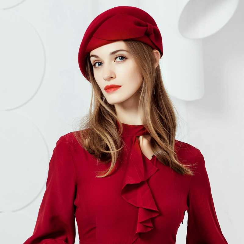 Женский 100% шерсть цветок Fedora Шляпа винтажное платье в английском стиле зимние женские фетровые Французский Берет шляпы Bone Feminino