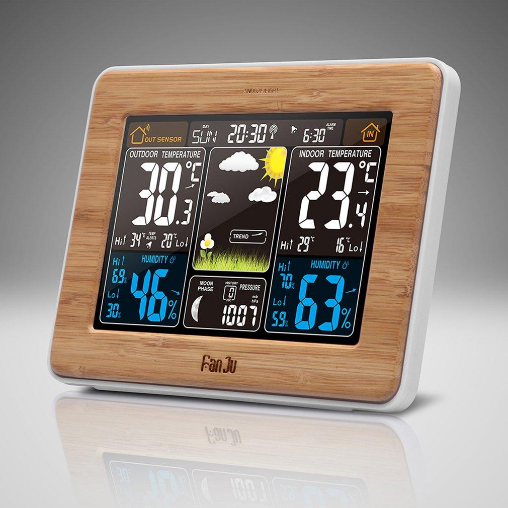 FanJu FJ3373 Weather Station Barometer Thermometer Hygrometer Wireless Sensor LCD Display Weather Forecast Digital Alarm ClockFanJu FJ3373 Weather Station Barometer Thermometer Hygrometer Wireless Sensor LCD Display Weather Forecast Digital Alarm Clock