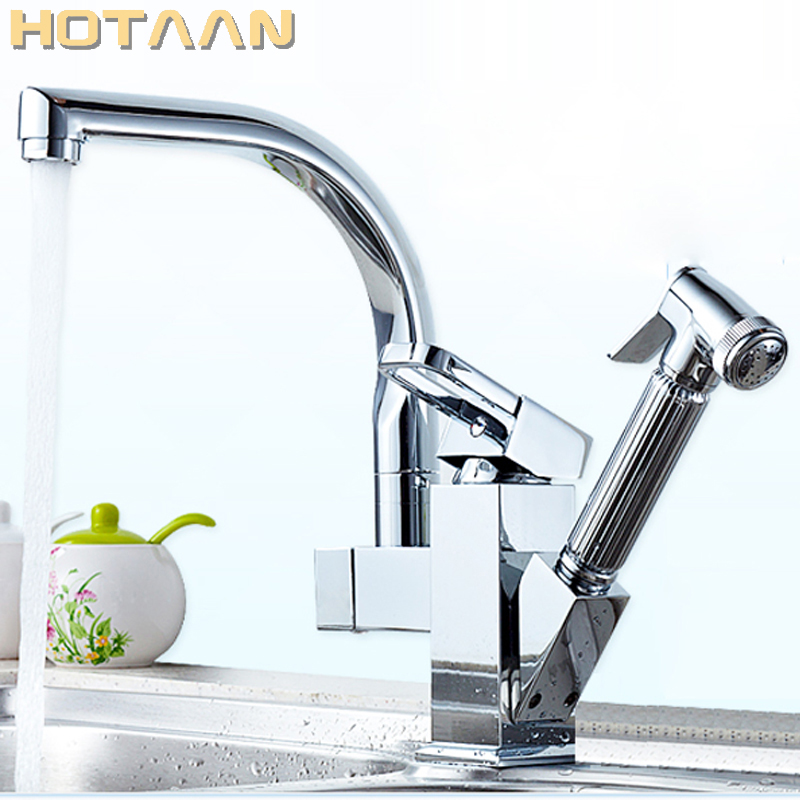 Pull Out Kitchen Faucet Chrome Plated Finish Dual Sprayer Nozzle Cold Hot Water Mixer Brass Bathroom Faucet Torneira Cozinha modern kitchen sink faucet mixer chrome finish kitchen double sprayer pull out water tap torneira cozinha rotate hot cold tap