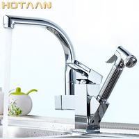 Hot Selling Free Shipping Pull Out Kitchen Faucet Solid Brass Thicken Chrome 360 Degree Swivel Kitchen