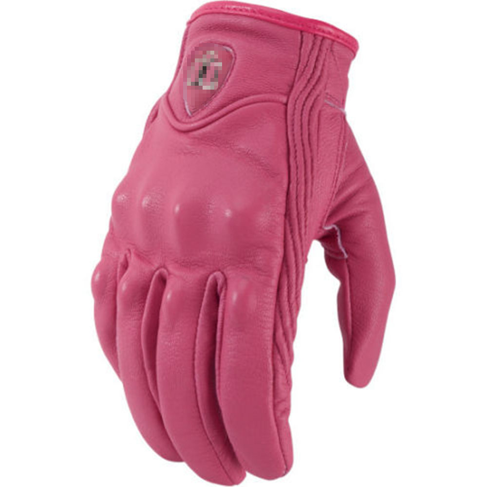 Womens leather motorcycle riding gloves - Free Shipping New Arrive Real Leather Women Motorcycle Gloves Icon Motorbike Gears Pink Xs S M L Xl
