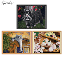 Joy Sunday Stamped Cross Stitch Kits Cat Patterns Aida Fabric 14ct 11ct DMC Printed on Canvas Embroidery Kit DIY Needlework Sets