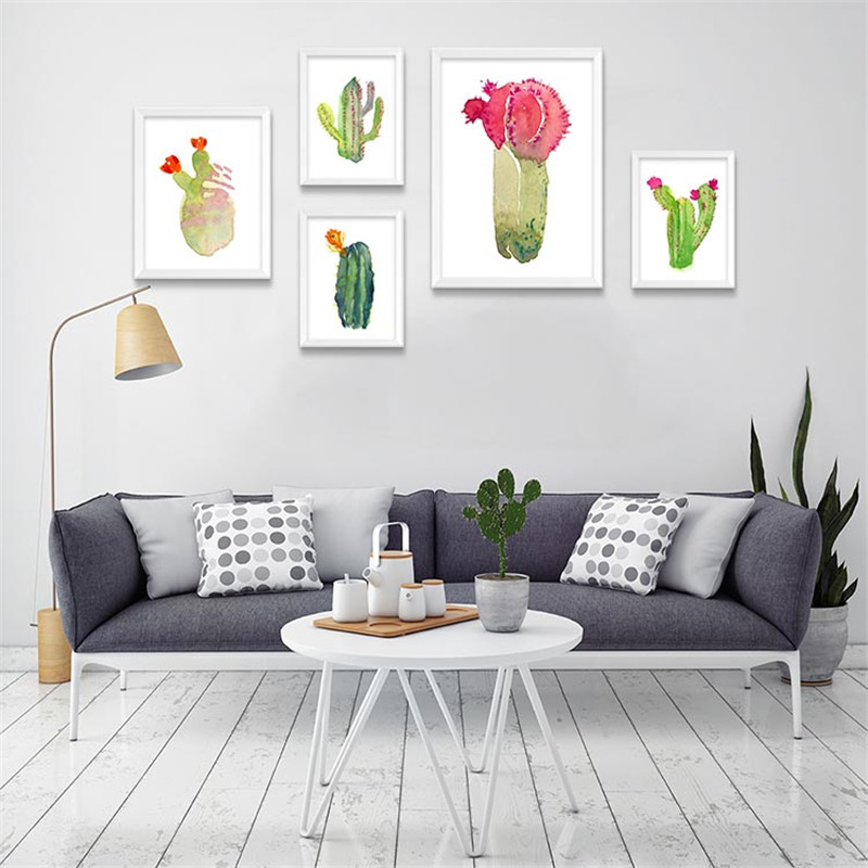 Aliexpress.com: Compre Nordic Cactus Plants Decorative Paintings For Living  Room Abstract Cactus Wall Painting Posters And Prints Canvas Prints YT0014  De ... Part 52