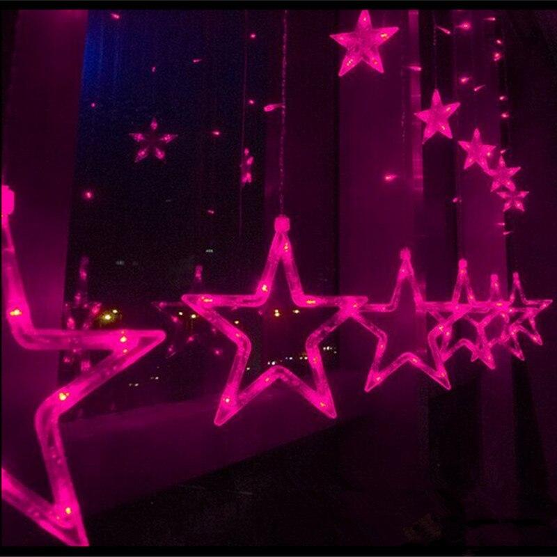 100V/220V Curtain Star string lights 2M 12pcs star 8 Modes Holiday Xmas decoration Light christmas led Fairy String light