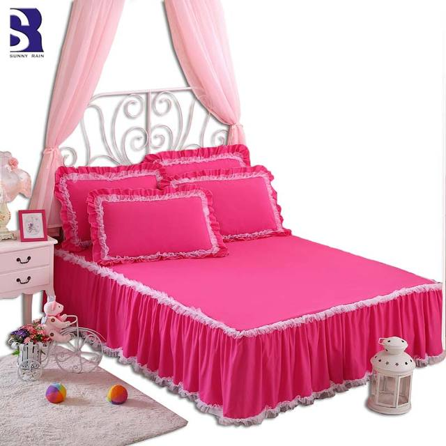 SunnyRain 3 Pieces Solid Color Lacework Korean Bedding Set King Size Queen  Bed Set For