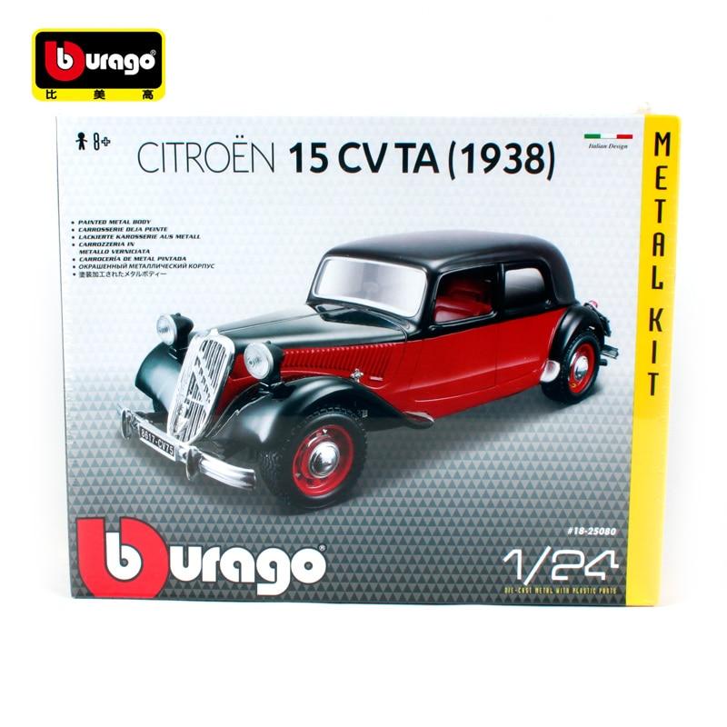 Bburago 1:24 1938 CITROEN 15 CV TA Black Red Assembly DIY Racing Diecast Model Kit Kits Car Toy New In Box Free Shipping 25080