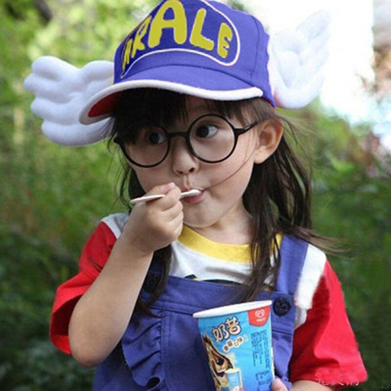 1pc/lot  Arale Adjustable Angel Wings Anime Cap Hat for 2-8 year Children Baby Boys Girls Sun Hat  Kids Sunbonnet Summer Cap