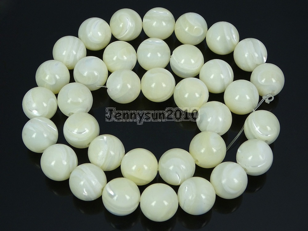 Natural White Mother Of Pearl MOP Stones 12mm Smooth Roundr Loose Beads 15 Strand for Jewelry