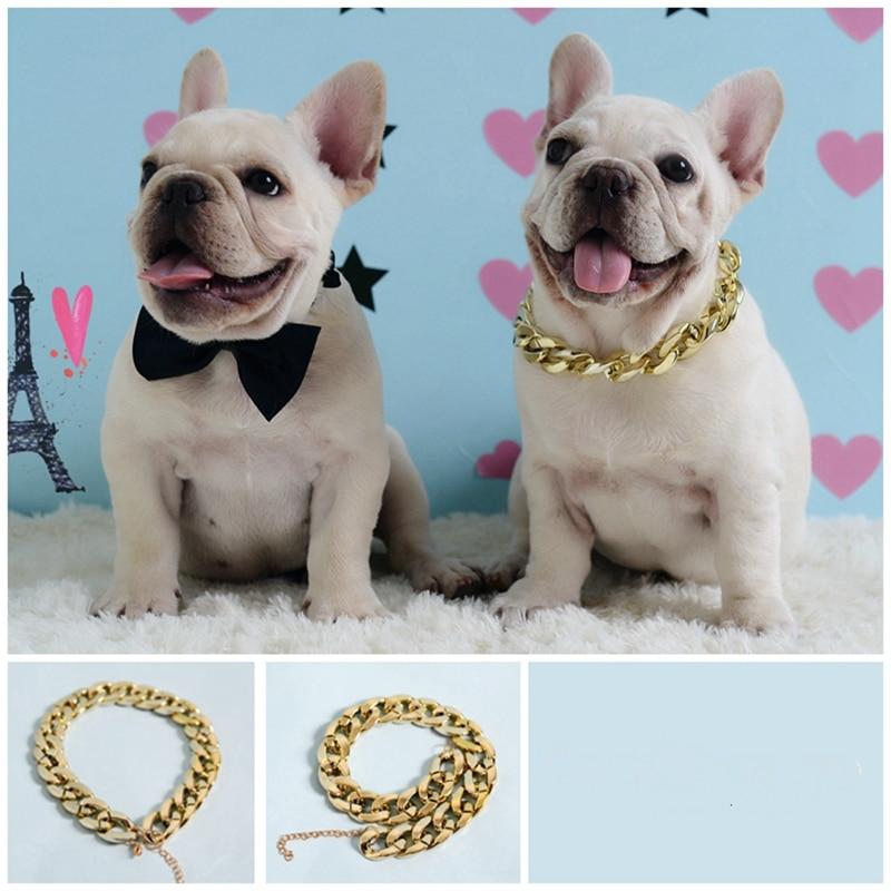 Pet Dog French Bulldog Metal Texture Necklace